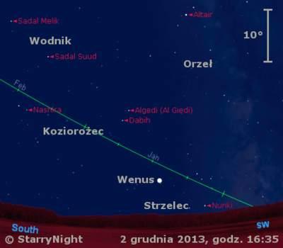 Położenie Księżyca iWenus wpierwszym tygodniu grudnia 2013 r.