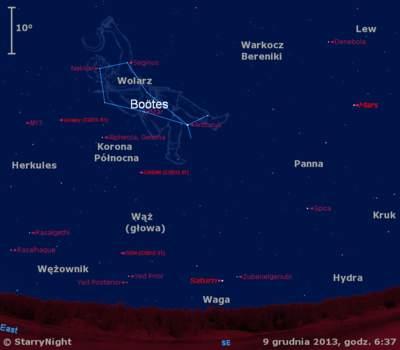 Położenie trzech komet i dwóch planet rankiem w drugim tygodniu grudnia 2013 r.