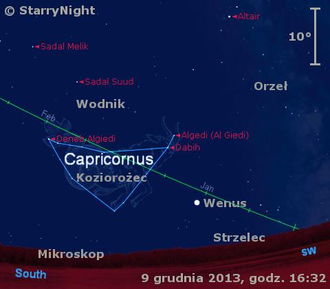 Położenie Wenus w drugim tygodniu grudnia 2013 r.