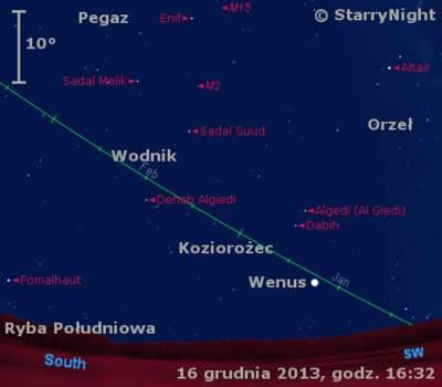 Położenie Wenus wtrzecim tygodniu grudnia 2013 roku