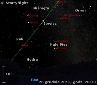 Położenie Jowisza wczwartym tygodniu grudnia 2013 r.