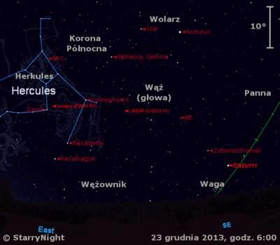 Położenie Saturna orazdwóch komet wczwartym tygodniu grudnia 2013 r.