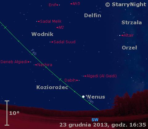 Położenie Wenus w czwartym tygodniu grudnia 2013 r,