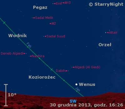 Położenie Księżyca i Wenus w pierwszym tygodniu stycznia 2014 r.