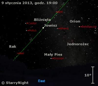 Położenie Jowisza wdrugim tygodniu stycznia 2014 r.