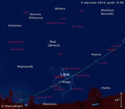 Położenie Marsa iSaturna orazkomety Lovejoya wdrugim tygodniu stycznia 2014 r.