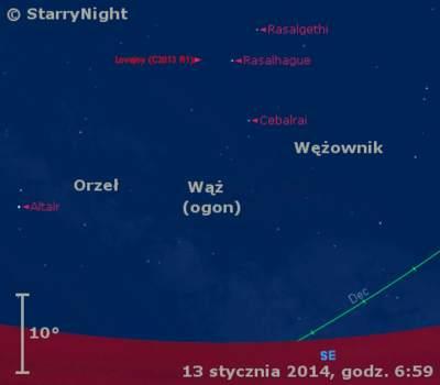 Położenie Wenus ikomety Lovejoya wtrzecim tygodniu stycznia 2014 r.