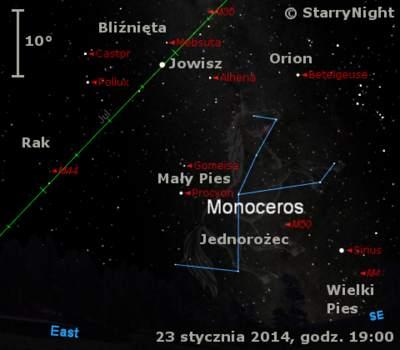 Położenie Jowisza wczwartym tygodniu stycznia 2014 r.