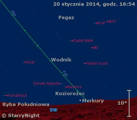 Położenie Merkurego w czwartym tygodniu stycznia 2014 r.