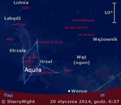 Położenie Wenus ikomety Lovejoya wczwartym tygodniu stycznia 2014 r.