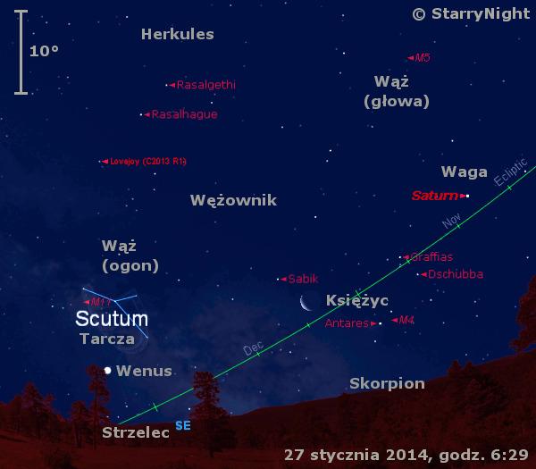 Położenie Wenus, Księżyca i komety Lovejoya na przełomie stycznia i lutego 2014 r.