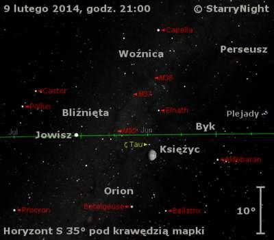 Położenie Jowisza wpierwszym tygodniu lutego 2014 r.