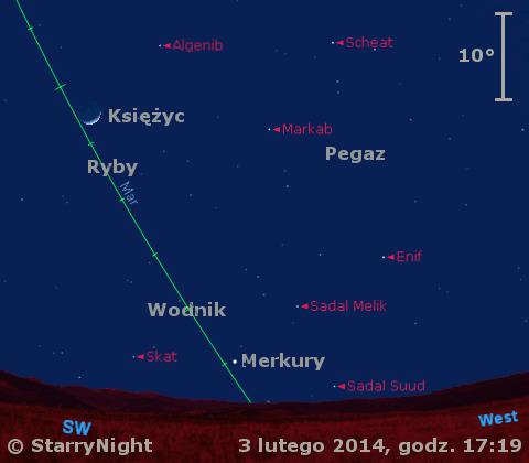 Położenie Merkurego i Księżyca w pierwszym tygodniu lutego 2014 r.