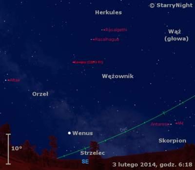 Położenie Wenus ikomety Lovejoya wpierwszym tygodniu lutego 2014 r.