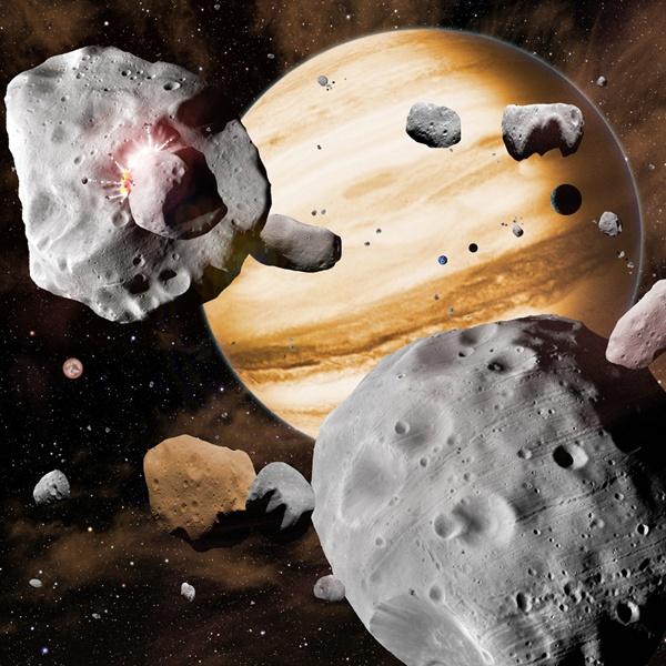 Jowisz zamiatający planetoidy – wizja artystyczna