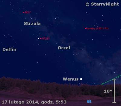 Położenie Wenus i komety Lovejoya w trzecim tygodniu lutego 2014 roku