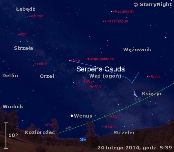 Położenie Księżyca, Wenus i komety Lovejoya w czwartym tygodniu lutego 2014 r.
