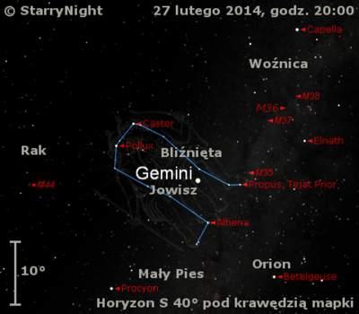 Położenie Jowisza wczwartym tygodniu 2014 r.