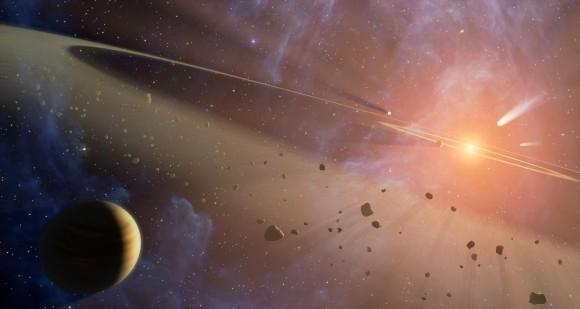 Artystyczna koncepcja tworzenia się egzoplanet wewnątrz dysku protoplanetarnego