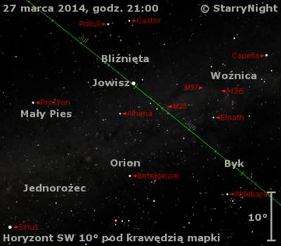 Położenie Jowisza wczwartym tygodniu marca 2014 r.