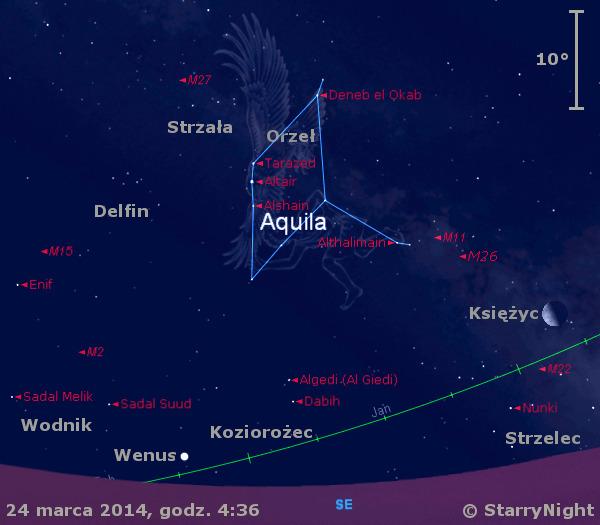 Położenie Księżyca i Wenus w czwartym tygodniu marca 2014 r.