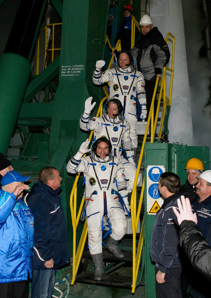 Członkowie 39. Ekspedycji tuż przed startem