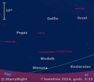 Położenie Wenus wdrugim tygodniu kwietnia 2014 r.