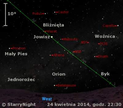 Położenie Jowisza wczwartym tygodniu kwietnia 2014 r.