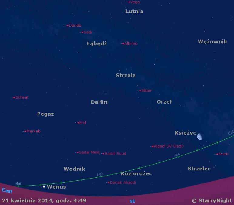 Położenie Księżyca i Wenus w czwartym tygodniu kwietnia 2014 r.