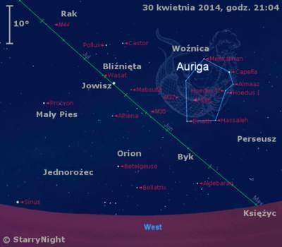 Położenie Księżyca i Jowisza na przełomie kwietnia i maja 2014 r.
