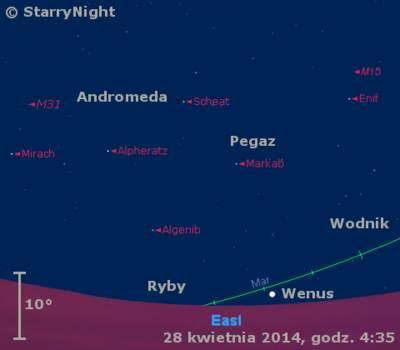 Położenie Wenus na przełomie kwietnia i maja 2014 r.