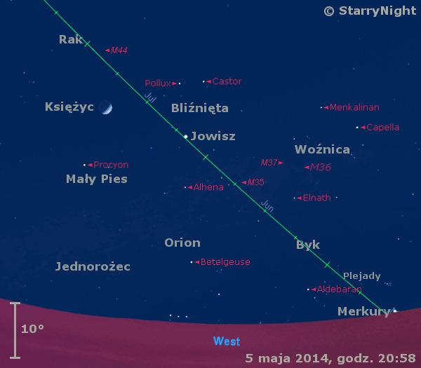 Położenie Jowisza, Merkurego i Księżyca w końcu pierwszej dekady maja 2014 r.
