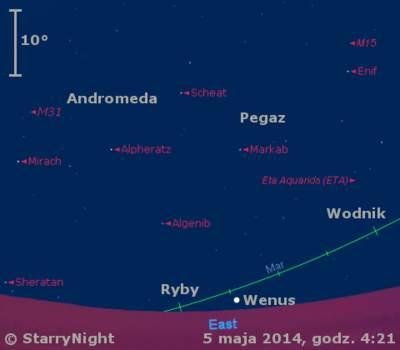 Położenie Wenus orazradiantu η-Akwarydów wkońcu pierwszej dekady maja 2014 r.
