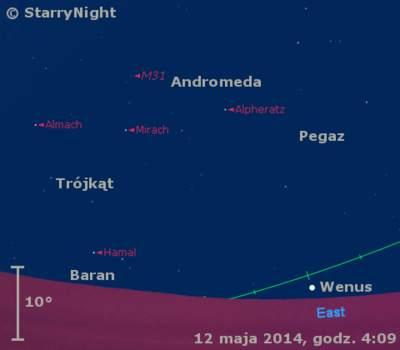 Położenie Wenus napoczątku drugiej dekady maja 2014 r.