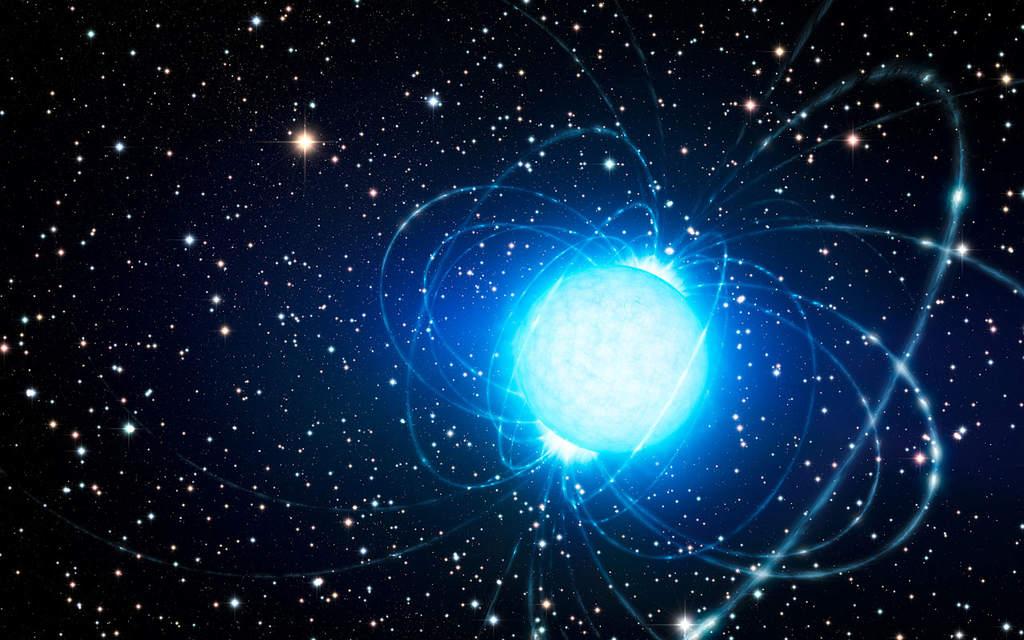 Wizja artystyczna magnetara w gromadzie Westerlund 1