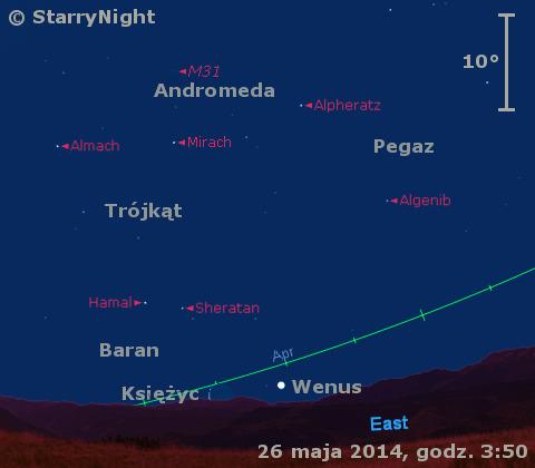 Położenie Księżyca i Wenus w ostatnim tygodniu maja 2014 r.