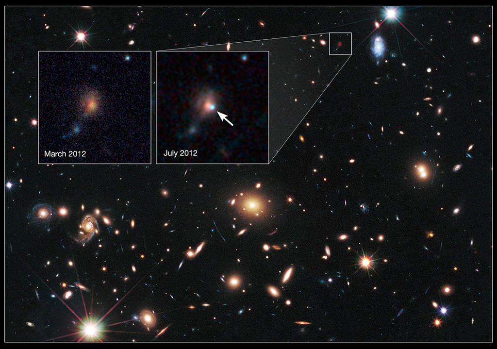 Soczewkowanie grawitacyjne: gromada galaktyk MACS J1720+35 i supernowa Caracalla
