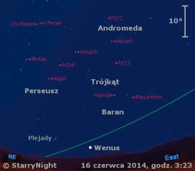Położenie Wenus iKsiężyca wtrzecim tygodniu czerwca 2014 r.