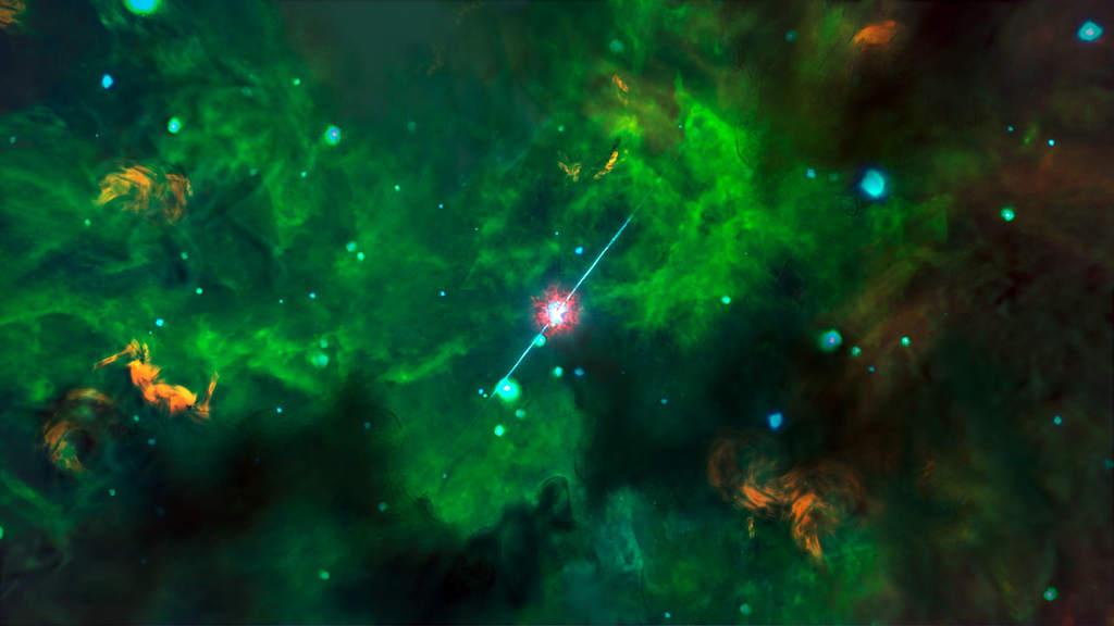 Kolejna wizja artystyczna rozbłysku gamma napodstawie obserwacji ALMA
