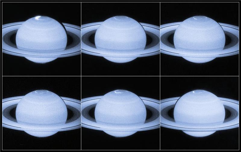 Zdjęcie UV zorzy polarnej na Saturnie i zmiany jej kształtu w czasie obserwacji