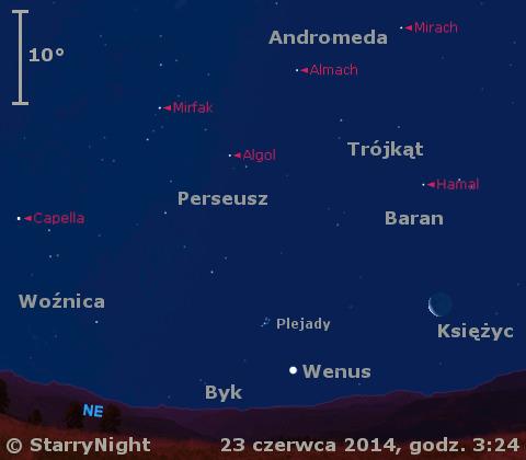 Położenie Wenus i Księżyca w czwartym tygodniu czerwca 2014 r.
