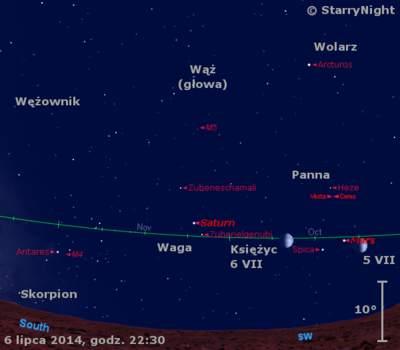 Położenie Saturna i Księżyca w pierwszym tygodniu lipca 2014 r.
