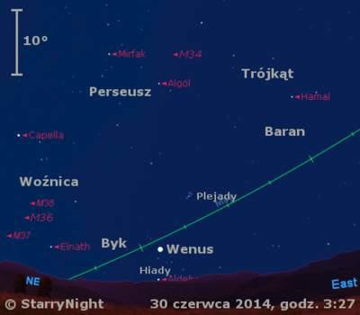 Położenie Wenus w pierwszym tygodniu lipca 2014 r.