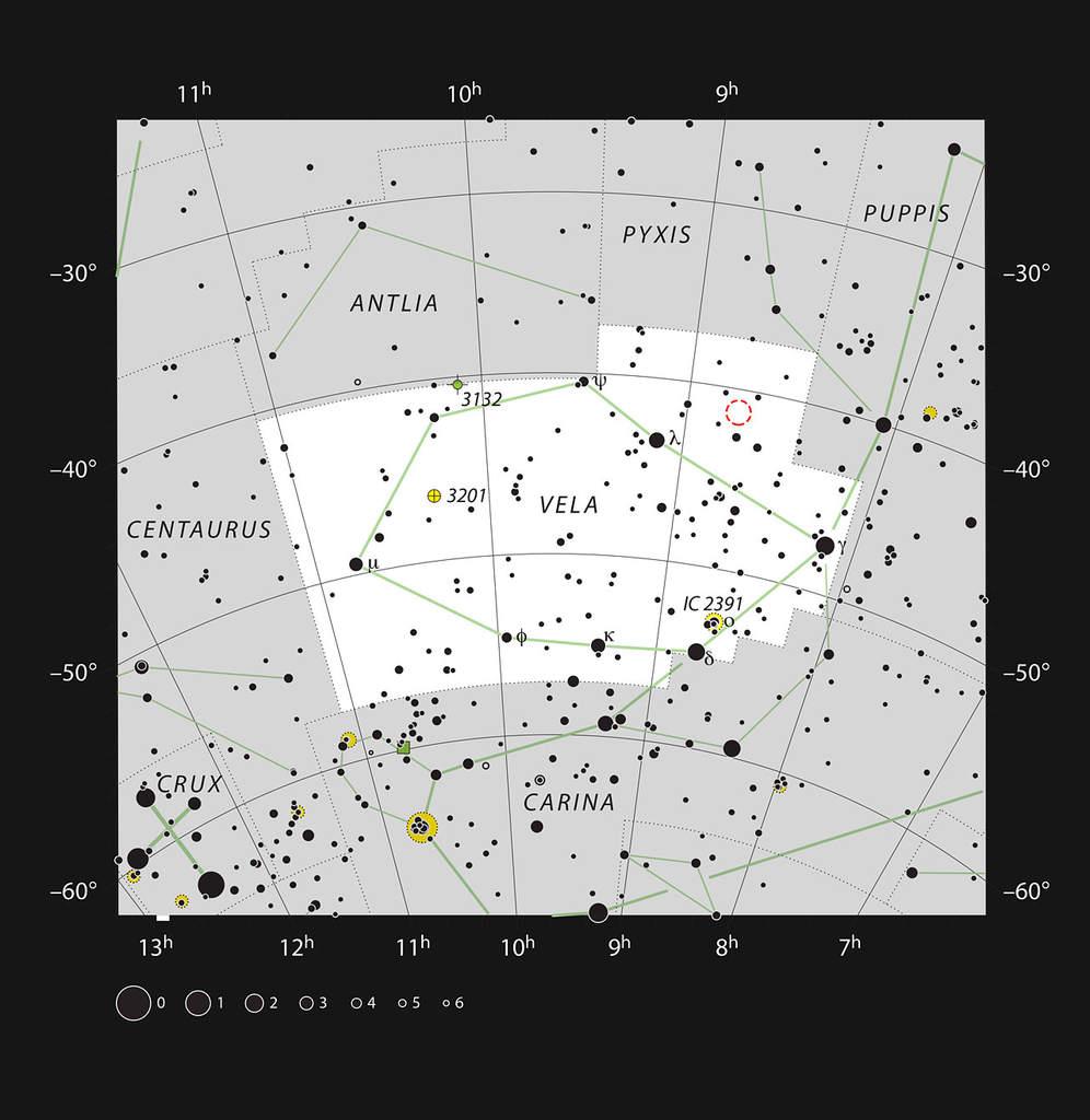 Gwiazdozbiór Żagla i Gum 15