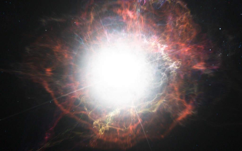 Pył formujący się wokół supernowej – wizja artystyczna