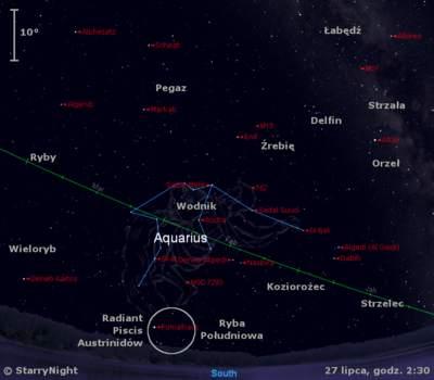 Położenie radiantu roju Piscis Austrinidów w końcu lipca