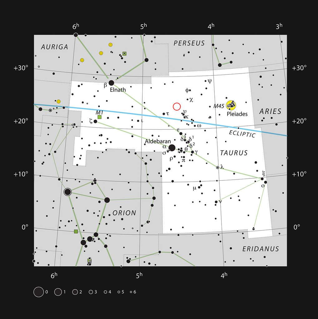 Gwiazdozbiór Byka i układ podwójny HK Tauri
