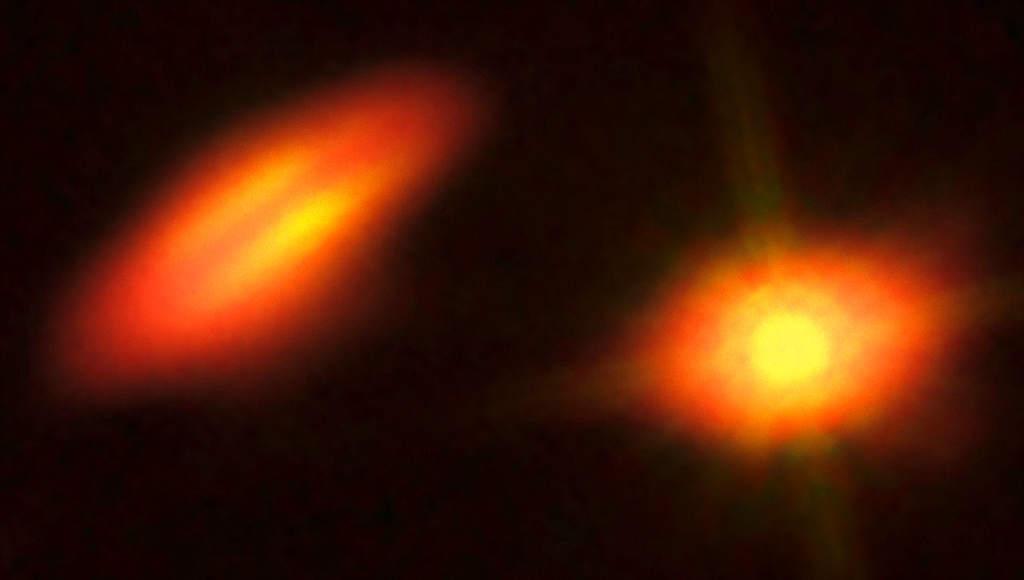 Układ podwójny HK Tauri – złożenie zdjęć zTeleskopu Kosmicznego Hubble'a orazobserwatorium ALMA