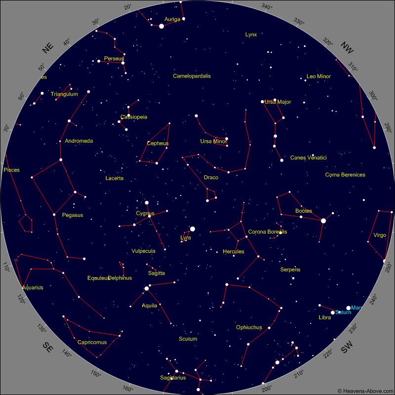 Widok nieba nad Barbarkąw dniu 16 sierpnia o godz. 21:30