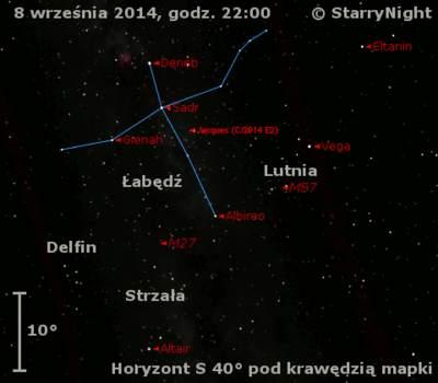 Położenie Komety Jacquesa (C/2014 E2) wdrugim tygodniu września 2014 r.